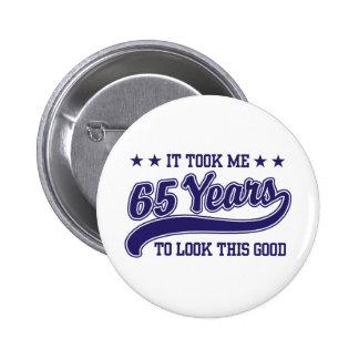 65th Birthday Pinback Button