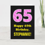 "[ Thumbnail: 65th Birthday: Pink Stripes and Hearts ""65"" + Name Card ]"