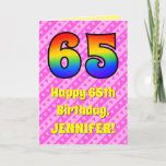 [ Thumbnail: 65th Birthday: Pink Stripes & Hearts, Rainbow # 65 Card ]
