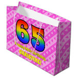 [ Thumbnail: 65th Birthday: Pink Stripes & Hearts, Rainbow # 65 Gift Bag ]