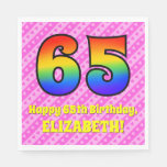 [ Thumbnail: 65th Birthday: Pink Stripes & Hearts, Rainbow # 65 Napkins ]