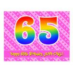 [ Thumbnail: 65th Birthday: Pink Stripes & Hearts, Rainbow 65 Postcard ]