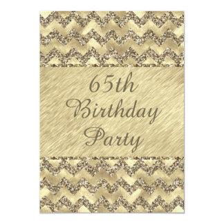 65th Birthday Platinum Glitter Chevrons Card