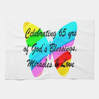 65TH BIRTHDAY RAIN BUTTERFLY DESIGN HAND TOWEL