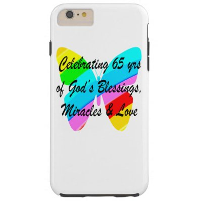 65TH BIRTHDAY RAIN BUTTERFLY DESIGN TOUGH iPhone 6 PLUS CASE