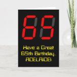 "[ Thumbnail: 65th Birthday: Red Digital Clock Style ""65"" + Name Card ]"