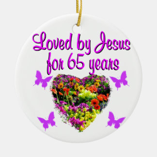 65TH BIRTHDAY RELIGIOUS CERAMIC ORNAMENT