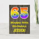 "[ Thumbnail: 65th Birthday: Rustic Faux Wood Look, Rainbow ""65"" Card ]"