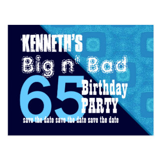 65th Birthday Save the Date Blue Diagonal V02A18 Postcard