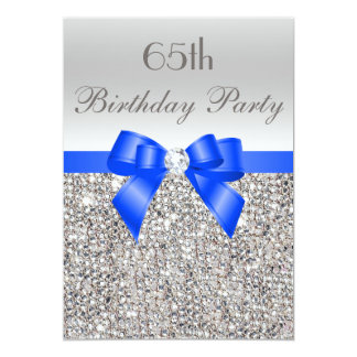 65th Birthday Silver Sequin Royal Blue Bow Diamond Card