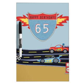 65th Birthday Stock Car Racing Theme Dry Erase Board