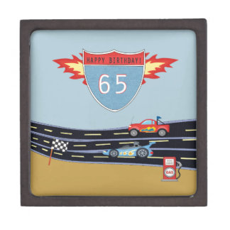 65th Birthday Stock Car Racing Theme Keepsake Box