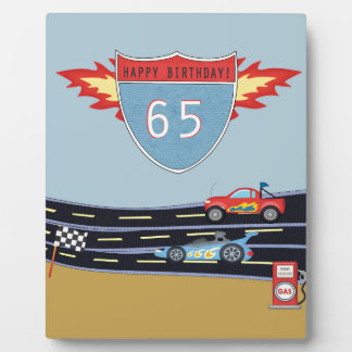 65th Birthday Stock Car Racing Theme Plaque