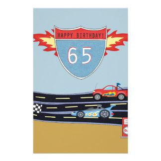 65th Birthday Stock Car Racing Theme Stationery