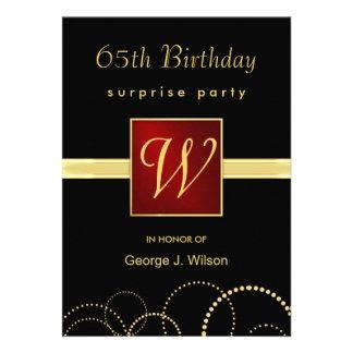 65th Birthday Surprise Party - Elegant Monogram Invite