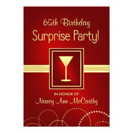 """65th Birthday Surprise Party Invitations 5"""" X 7"""" Invitation Card   Zazzle"""