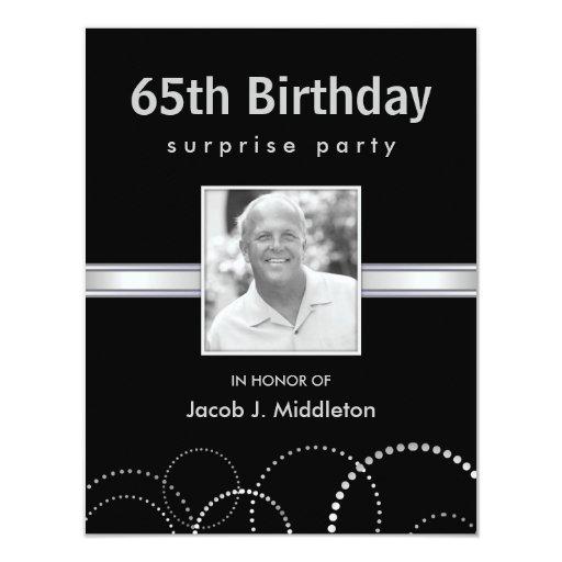 65th Birthday Surprise Party Photo Invitations
