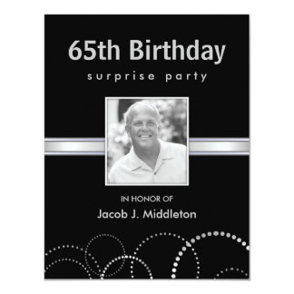 "65th Birthday Surprise Party Photo Invitations 4.25"" X 5.5"" Invitation Card"