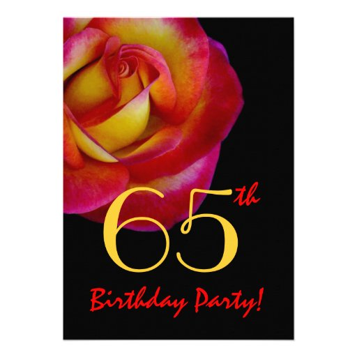 65th Birthday Template - Red and Yellow Rose Invite