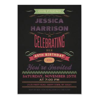 65th Birthday Vintage Chalkboard Typography Card