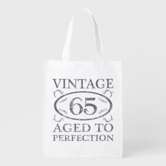 65th Birthday Vintage Reusable Grocery Bag