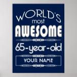 65th Birthday Worlds Best Fabulous Dark Blue Poster