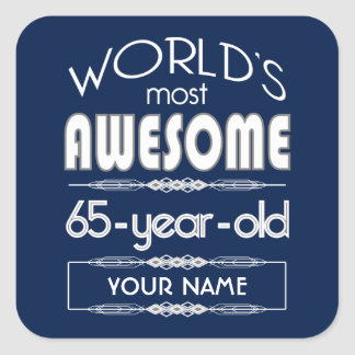 65th Birthday Worlds Best Fabulous Dark Blue Square Sticker