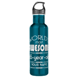 65th Birthday Worlds Best Fabulous Dark Blue Water Bottle