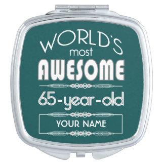65th Birthday Worlds Best Fabulous Dark Green Mirror For Makeup
