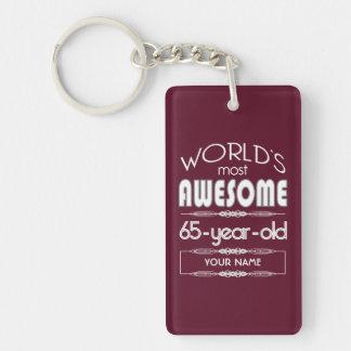 65th Birthday Worlds Best Fabulous Dark Red Keychain