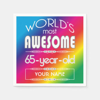 65th Birthday Worlds Best Fabulous Rainbow Paper Napkin