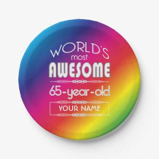 65th Birthday Worlds Best Fabulous Rainbow Paper Plate