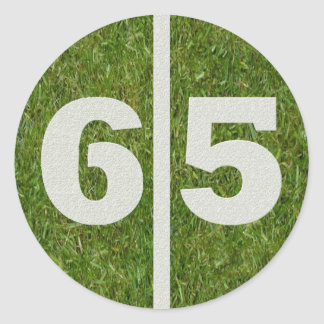 65th Birthday Yard Football Sticker
