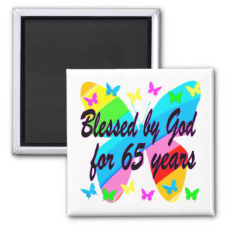 65TH BLESSED BY GOD BUTTERFLY DESIGN MAGNET