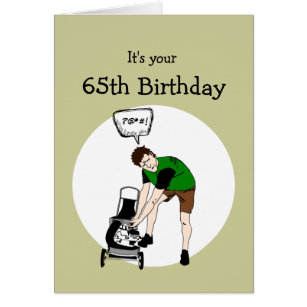 Funny 65th birthday cards greeting photo cards zazzle 65th sixty fifth birthday funny lawnmower insult card bookmarktalkfo Gallery