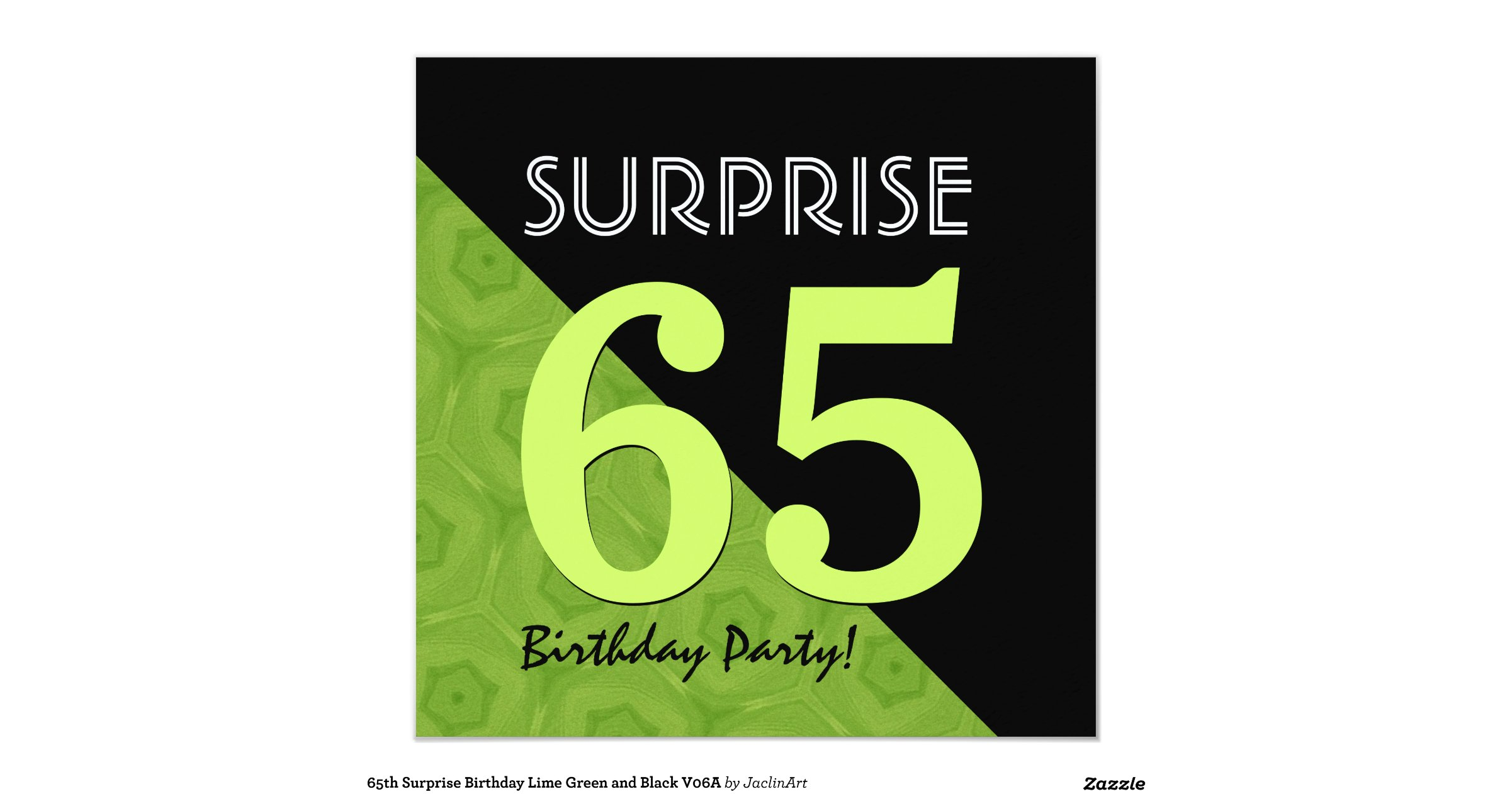 Surprise 65th Birthday Party Invitation Secret SAVE Lime Green And Black V06a
