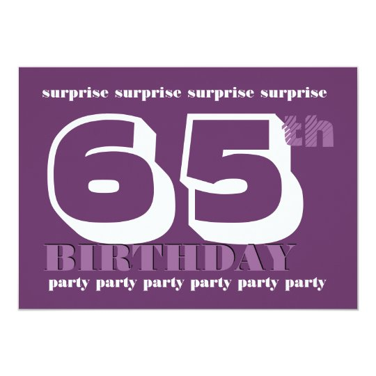 65th SURPRISE Birthday Party Purple Template