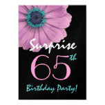65th Surprise Birthday Pretty Pink Daisy Metallic Custom Invite
