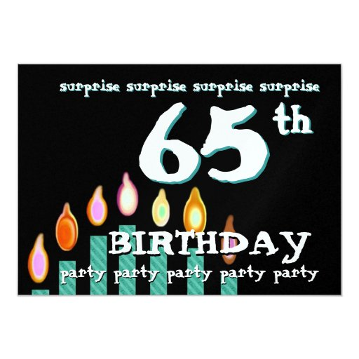 65th SURPRISE Birthday Teal Candles 5x7 Paper Invitation Card