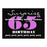 65th SURPRISE Purple Birthday Party Template Personalized Invitation
