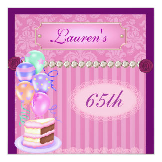 65th Vintage Pink Birthday Damask Invitation