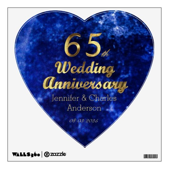 65th Wedding Anniversary Add Name And Date Wall Decal