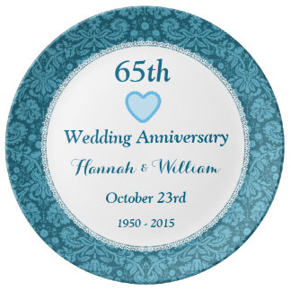 65th Wedding Anniversary Blue Damask and Lace M05C Porcelain Plates