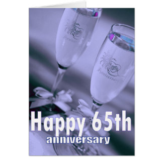 65th wedding anniversary champagne celebration card