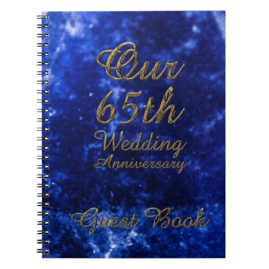 65th Wedding Anniversary Guest Book Blue Sapphire