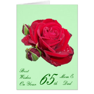 65th Wedding Anniversary Mom & Dad Red Rose Card