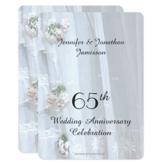 65th Wedding Anniversary Party, Vintage Lace Card
