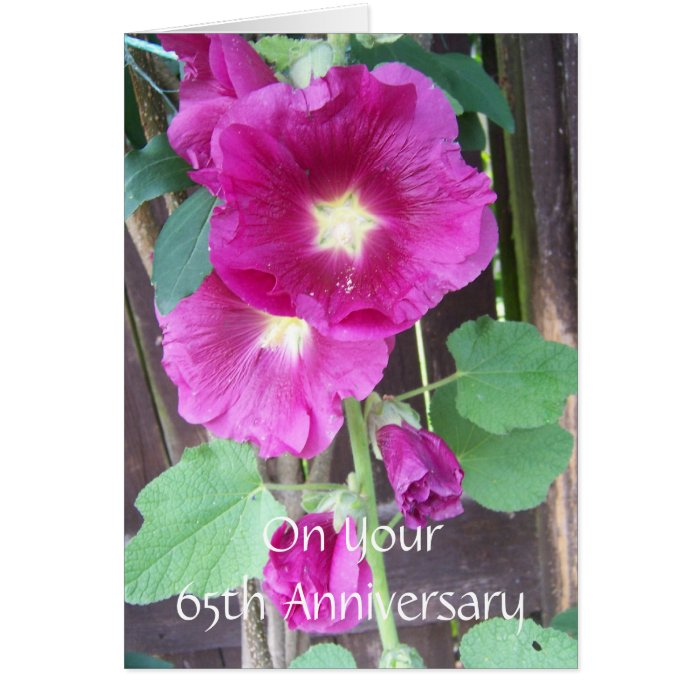 65th wedding anniversary purple hollyhocks card zazzle. Black Bedroom Furniture Sets. Home Design Ideas