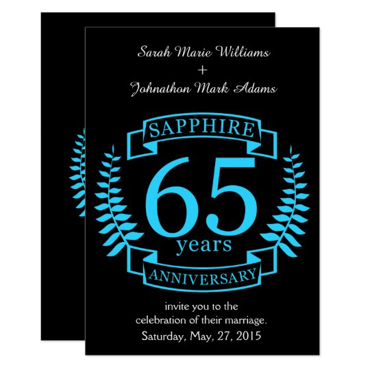 65 Wedding Anniversary Gift: 65th Wedding ANNIVERSARY SAPPHIRE Invitation