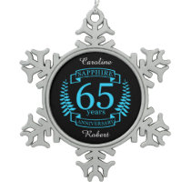 65th Wedding ANNIVERSARY SAPPHIRE Snowflake Pewter Christmas Ornament